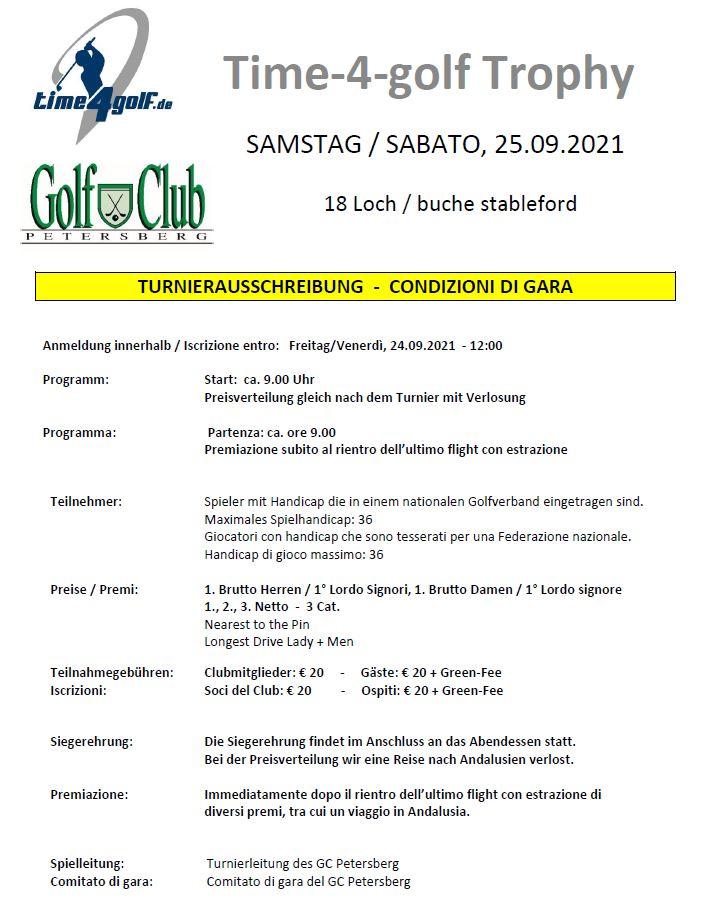 time4golf Trophy 2021 time 4 golf ausschreibung
